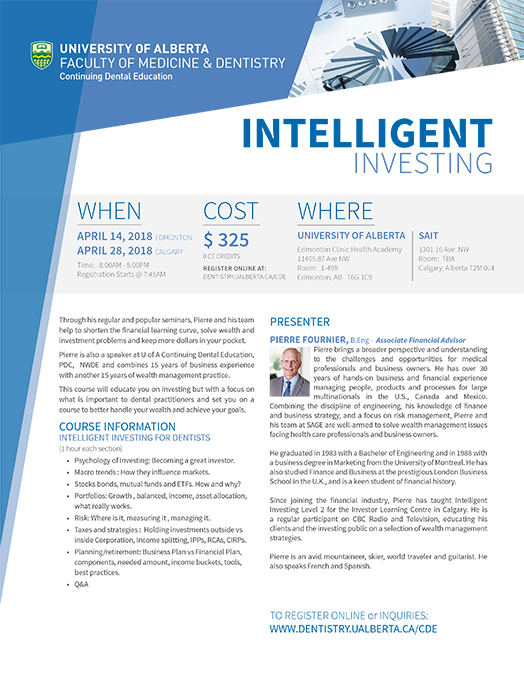 Flyer for Inteligent Investing Course